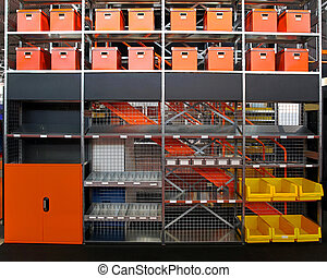 Warehouse shelves - Big metal shelf with boxes in warehouse