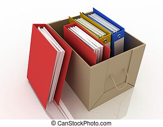 office folders in cardboard box on white background
