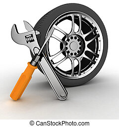 Wheel and Tools - Wheel and Tools. Car service. Isolated 3D...