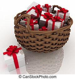 gift boxes in a braiding basket on a white background