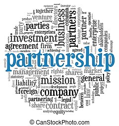 Partnership concept in tag cloud - Partnership and business...
