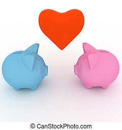 two piggy-bank with heart