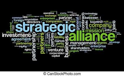 estratégico, aliança, conceito, tag, nuvem
