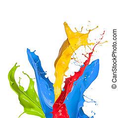 coloreado, Pintura, salpicaduras, aislado, blanco, Plano de...