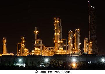 raffineria, pianta, prodotto petrochimico, olio, vista