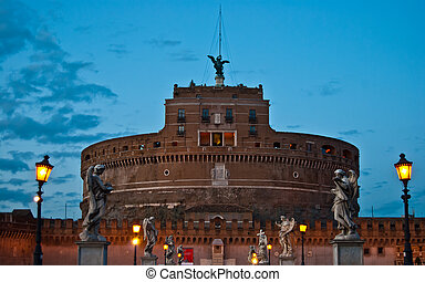 Castel Sant Angelo - Castel and Ponte Sant Angelo in Rome in...