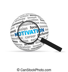 Motivation 3d Word Sphere with magnifying glass on white...