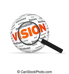 Vision 3d Word Sphere with magnifying glass on white...