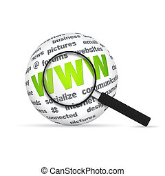 World Wide Web 3d Word Sphere with magnifying glass on white...