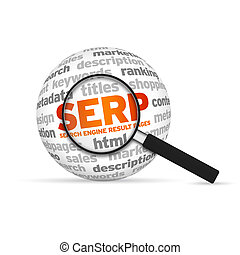 Search Engine Result Pages 3d Word Sphere with magnifying...