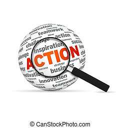 Action 3d Word Sphere with magnifying glass on white...