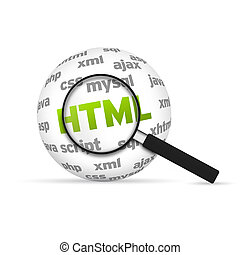 Html 3d Word Sphere with magnifying glass on white...