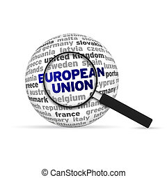 European Union 3d Sphere with magnifying glass on white...