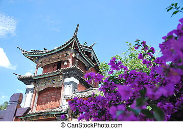 Lijiang old town - View of a building in Lijiang old town,...