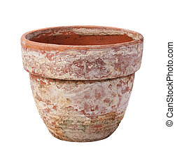 Old Flowerpot Isolated on White