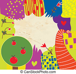 Abstract kids funny background with flowers and tree