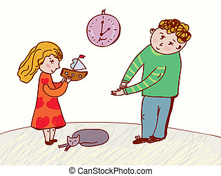 Children speaking - behavior and rules illustration