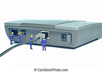 Repairing internet connection - Engineers repairing LAN...