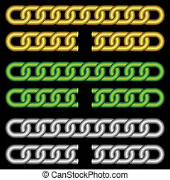 Different chains. - Set of chains of different color on a...
