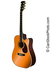 Acoustic Guitar Vector - Acoustic guitar on a white...