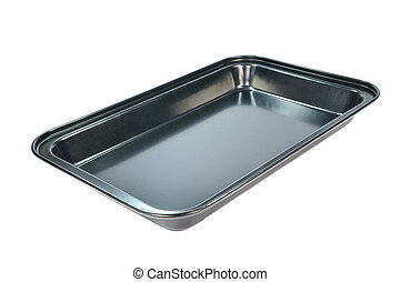A baking tray - An clean empty baking tray on a white...