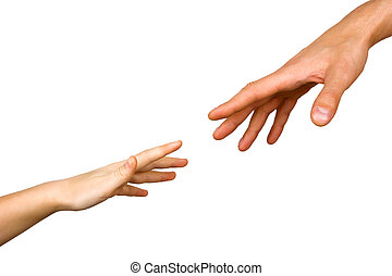 small child's hand reaches for the big hand man isolated on...