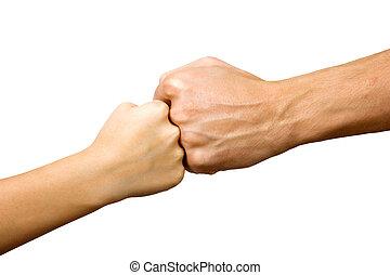 puños, grande, poco, juntos, mano
