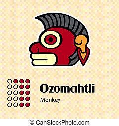 Aztec symbol Ozomahtli - Aztec calendar symbols - Ozomahtli...