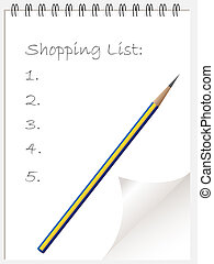 Shopping list notepad wtih page curl
