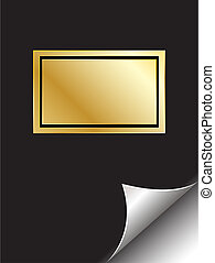 Book with golden frame and page curl