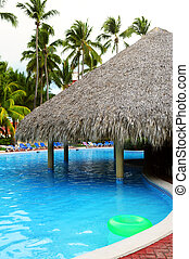 Swimming pool with swim up bar at tropical resort