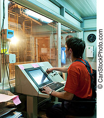 Factory operator at work