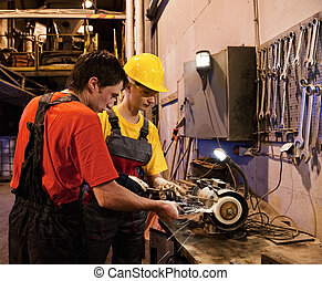 Man and woman working together