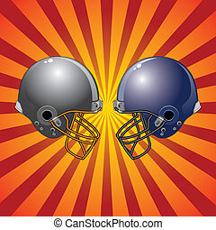 Football Helmets Colliding - Illustration of two football...