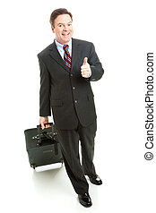 Business Travel Thumbs Up - Full Body - Business traveler...