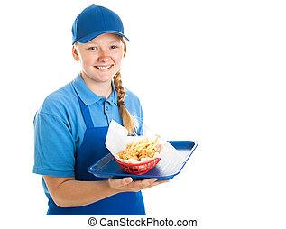 Fast Food Worker - Teenager - Teenage fast food worker...