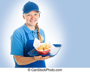 Fast Food Worker on Blue - Teenage fast food worker holding...