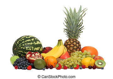 Assortment of fruits and berries (isolated) - Assortment of...