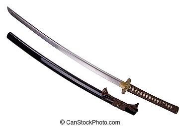 Katana sword - Katana, japanese sword, isolated on white...