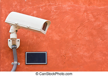 security camera on the wall, cctv