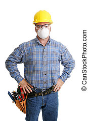 Construction Safety - Construction worker with his tools and...