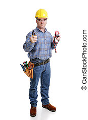 Electrician Ready for Work - Electrician in safety gear...