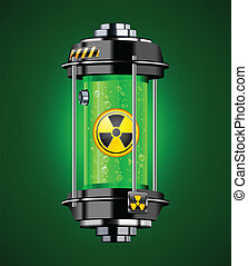 Nuclear energy - Container of nuclear energy in green color,...