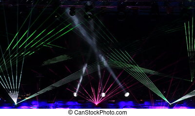 Laser show at the discotheque in the open air Loopable