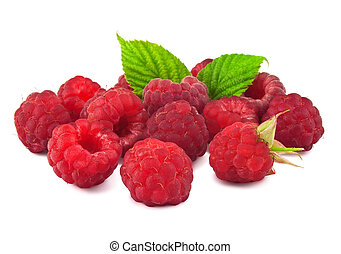 Red Raspberry with green leaf