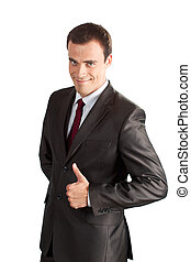 A handsome businessman with thumbs up