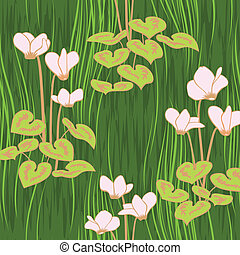 seamless ciklamen flowers pattern background