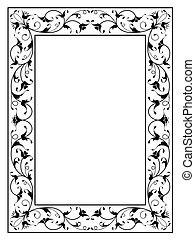 oriental floral ornamental decorative black frame - oriental...