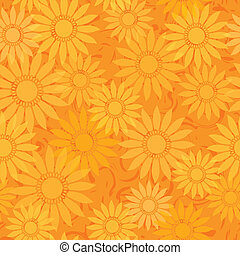 seamless sunflowers pattern background - vector seamless...