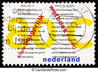 Postage stamp Netherlands 1992 New Civil Code - NETHERLANDS...